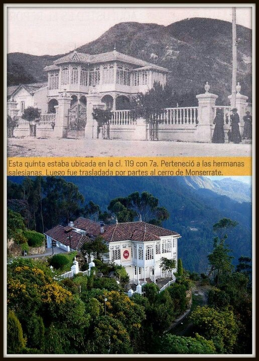 This house used to be located in the 119 Street and 7th Avenue.  Years later it was taken by parts to the mountain of Monserrate. Now is a  fancy restaurant with an amazing view of Bogota, Colombia