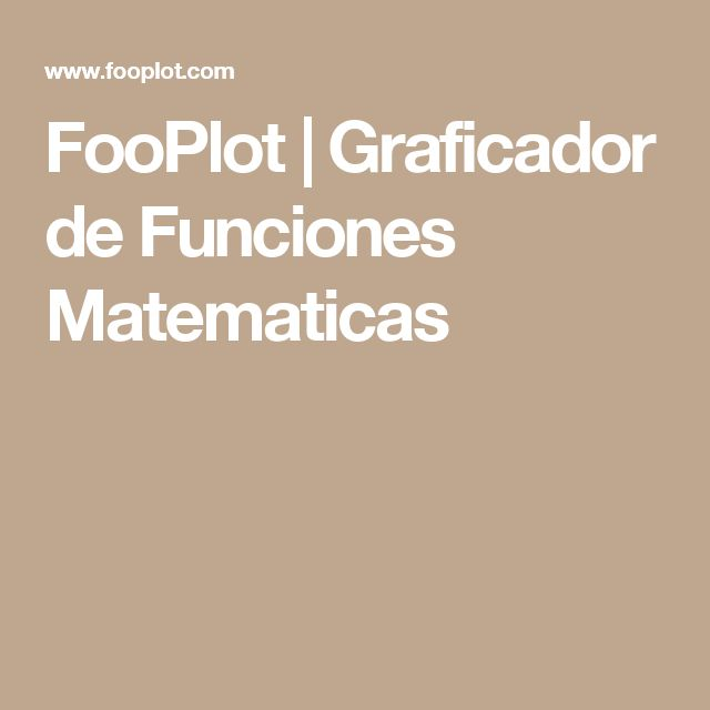 FooPlot | Graficador de Funciones Matematicas