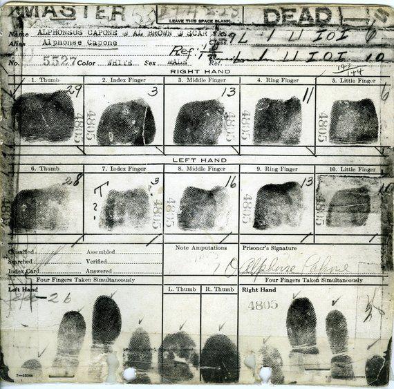 Al Capone Fingerprint Card Rare Chicago Mafia