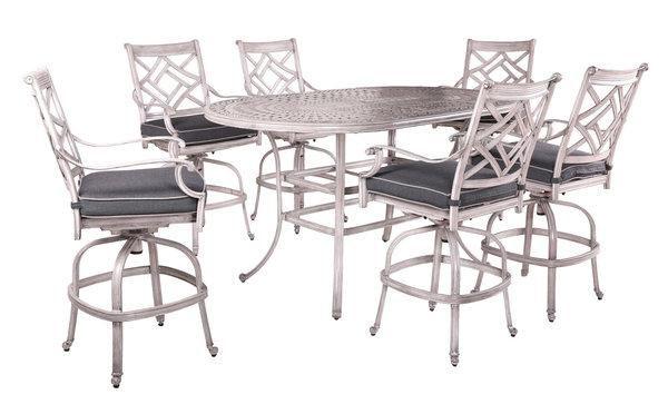 Indio Round Dining Set - gunmetal rust free cast aluminum with welted indigo Sunbrella cushions