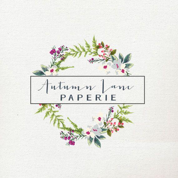 Pre-Made Logo  Premade Logo  Wreath Logo  by AutumnLanePaperie