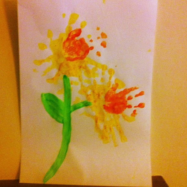 My half-Welsh sons handprint daffodils for St David's Day