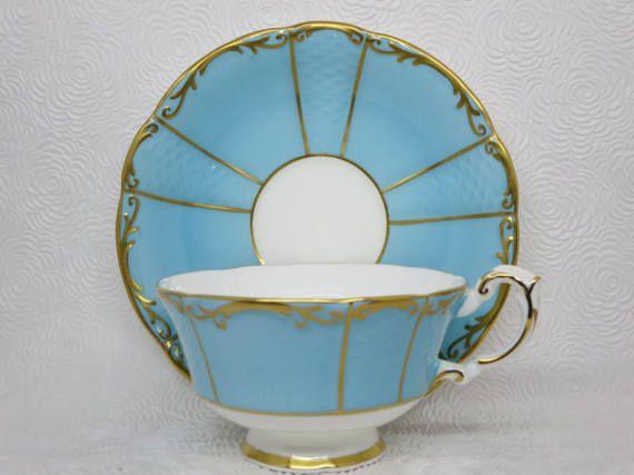 TEACUP PARAGON Light blue Gilded Tea set Teacup saucer