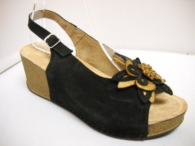 1 (A) Atema Bethany - Mt Wga W - Atema from Italy.  Suede slide with flower detail on front.  4cm cushioned comfort cork sole.  price  149 NZ $