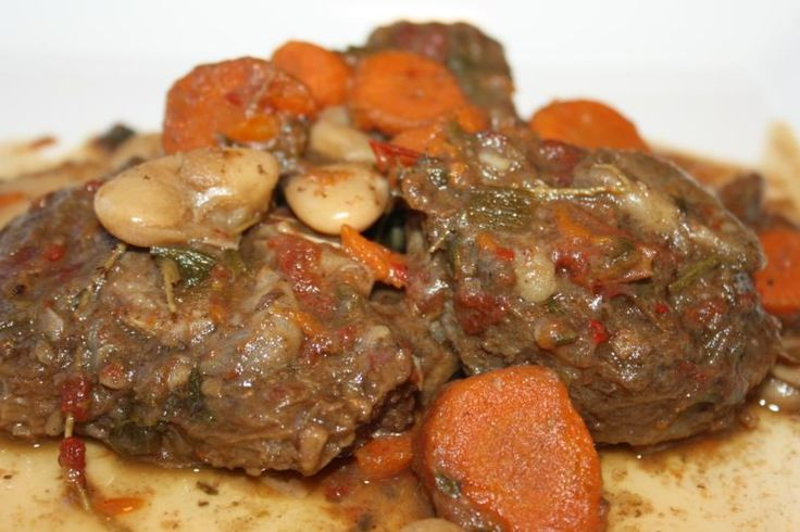 Stewed Oxtail With Butter Beans.