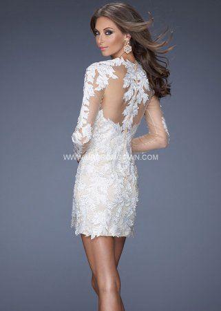 Short High Neck Ivory La Femme 20105 Long Sleeve Lace Prom Dress