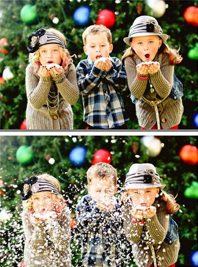 Da igual que la nieve sea falsa, aquí se trata de mantener el espíritu navideño en las fotografías, bien alto. y a los niños les encanta