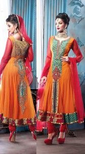 """<span style=""""color: black;"""">This dress like Mugdha Godse, orange georgette medium length anarkali suit which is decked with stone, zari, kasab embroidery work yoke and back side, lace work in the center panel and border part is decorated with resham work. This suit comes with a contrast bottom and dupatta.This Salwar Kameez can be stitched in the maximum bust size of 44 i.."""