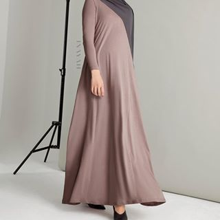 A Feminine Touch - Showcase a modest silhouette in this neutral-toned flare abaya. Mushroom Tailored Flare Abaya Charcoal Soft Crepe Hijab www.inayah.co