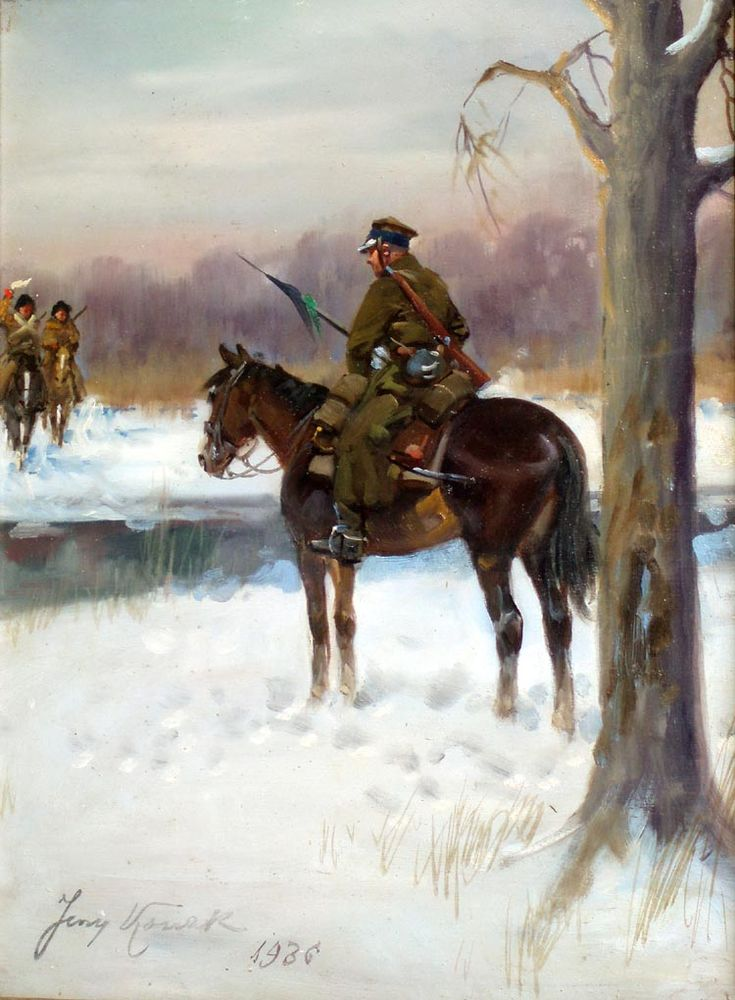 """Patrol on Horseback"", 1936, oil on plywood, 41.5 x 29.5 cm, private collection"