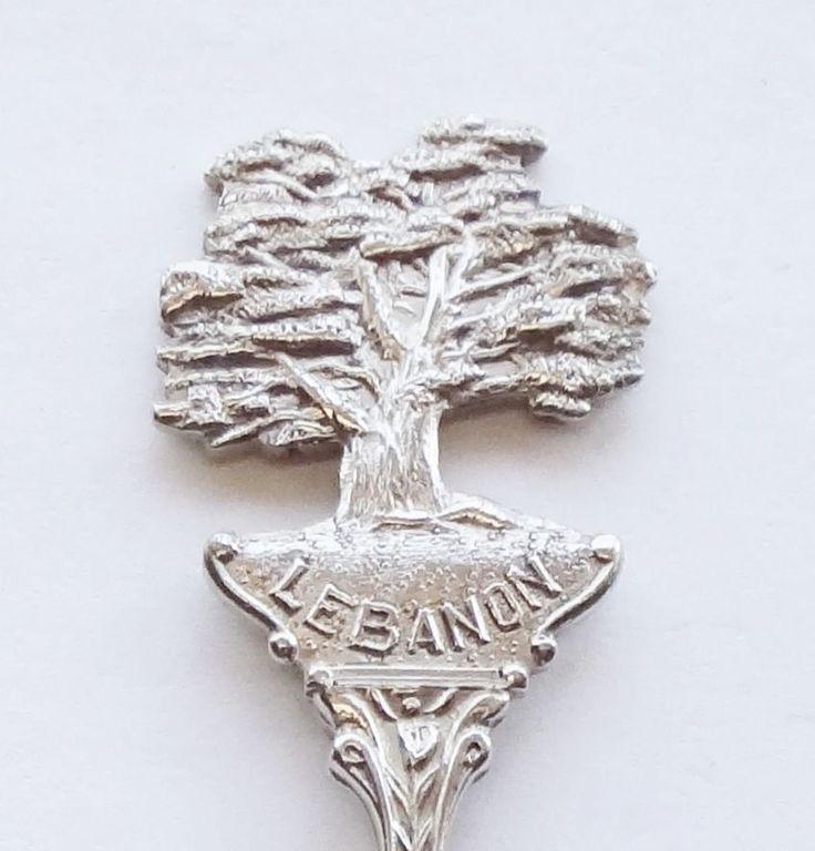 Collector Souvenir Spoon Lebanon Flag Coat of Arms Cedar Tree Embossed Figural