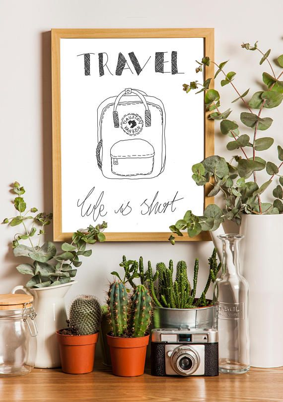 Minimalist 'Travel You Only Live Once' B&W Print