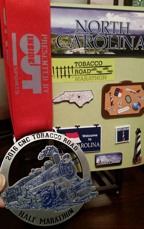2016 GNC Tobacco Road Half Marathon medal in North Carolina - 2016 bling photos - half marathon medal photos taken by Fifty States Half Marathon Club members www.50stateshalfmarathonclub.com
