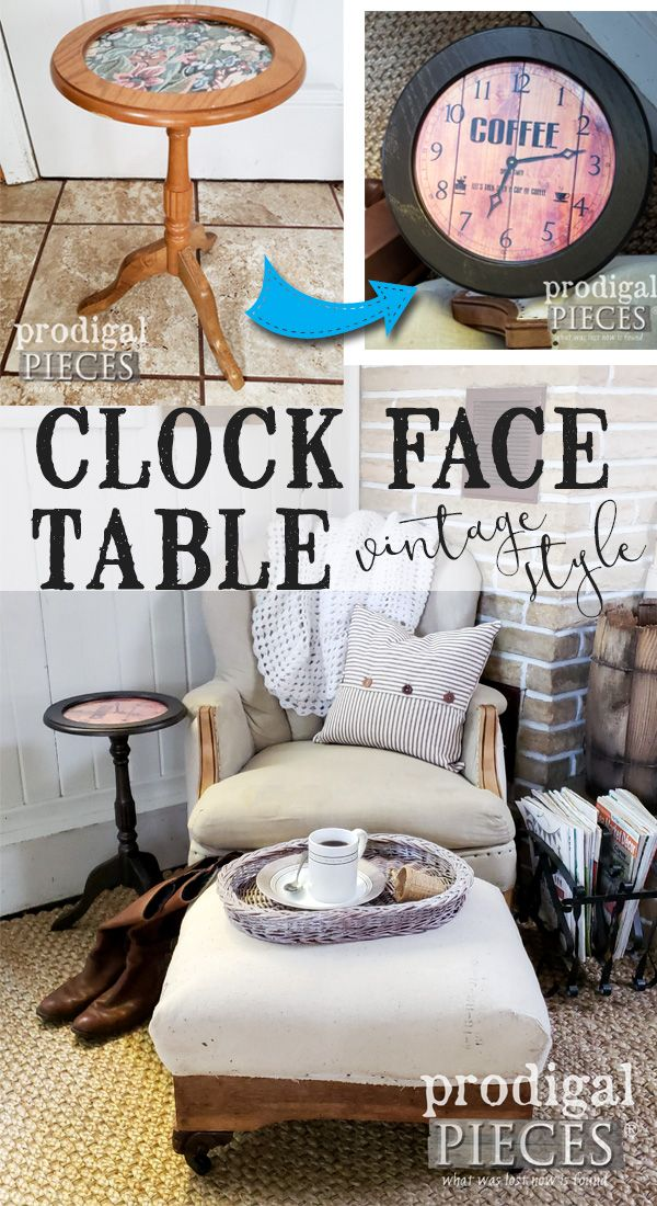 DIY Clock Face Table with Metallic Paint Furniture Painting