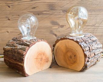 Set of two wood lamps, made out of reclaimed firewood, can be used as matching bedside lamps or as table lamps, goes great with Edison bulbs
