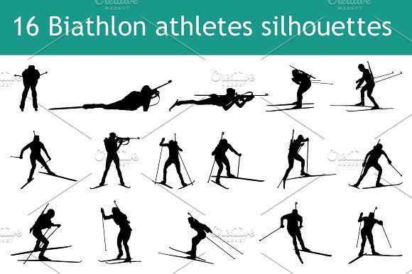 16 biathlon athletes silhouettes by angelp on @creativemarket #silhouettes #people #characters #isolated #illustration #vector #template #sport #biathlon