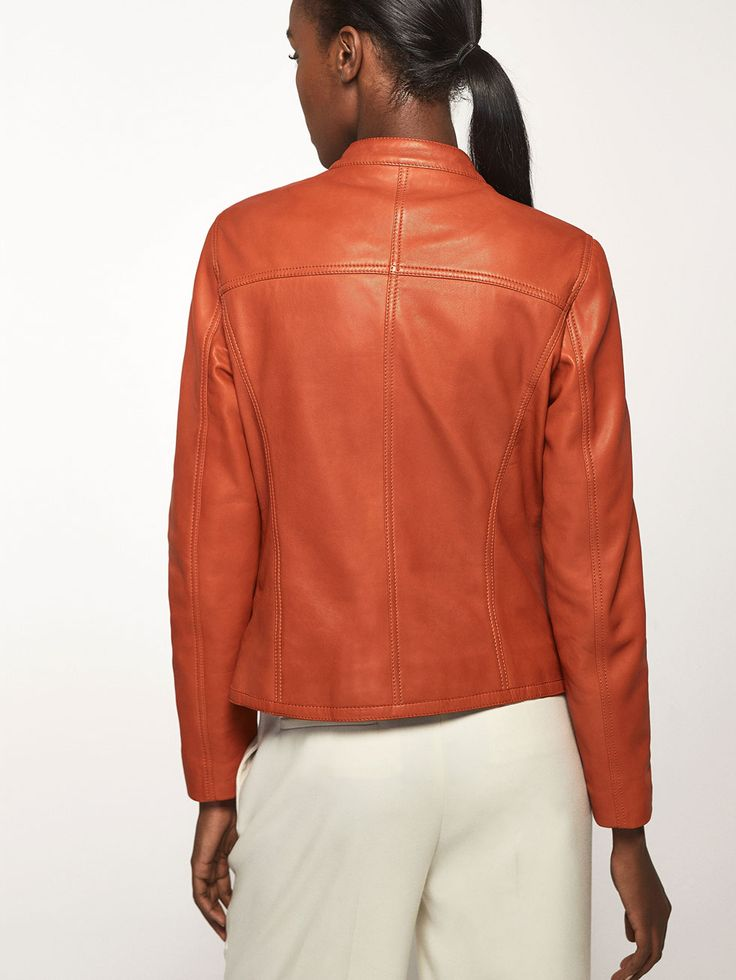 Autumn Spring summer 2017 Women´s ORANGE NAPPA JACKET at Massimo Dutti for 375. Effortless elegance!
