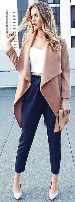 Dusty Pink Trench Coat + 'Work Up' Pants                                                                             Source