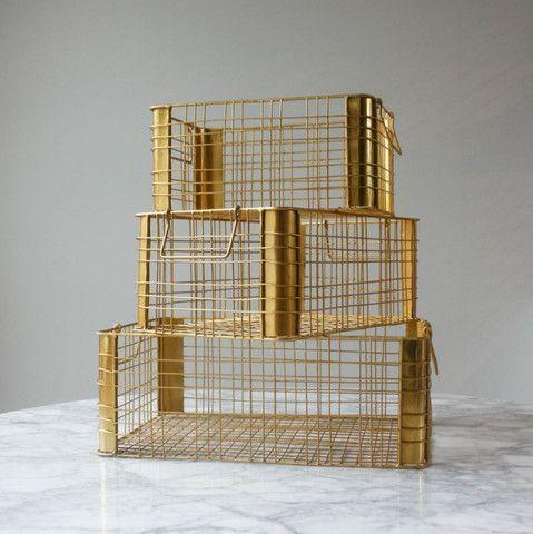 Brass 'look' Wire Stacking Baskets (set of 3) | Design Quarter
