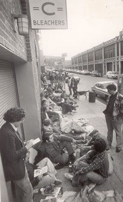 Fans lined up outside Fenway Park's Gate C on Oct. 10, 1975 to buy World Series tickets for the Red Sox battle with the Cincinnati Reds.