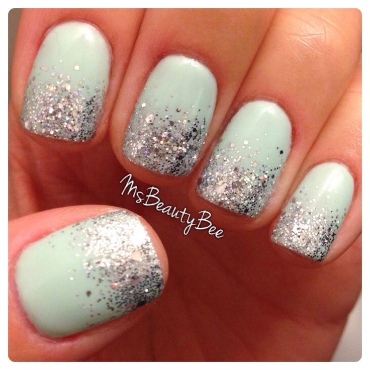 Mint Green Glitter Gradient Nails.  Gelish - Kiss Me, I'm a Prince.  Martha Stewart silver glitter topped with Gelish - Am I Making you Gelish?