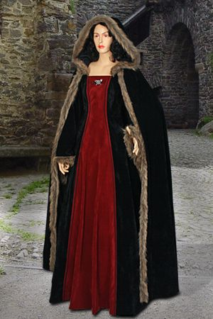 Fur-Trimmed Medieval Dress No. 83 with Hood - 125.50 USD - Medieval and Renaissance Clothing, Handmade by Your Dressmaker