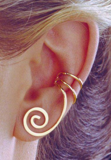 Grecian Curl Top Converter Gold Vermeil Ear Cuffs Earrings Left Only [51-GP-L] - $35.00 : Ear Cuff Earring Wrap Jewelry, Ear Charms No Piercing