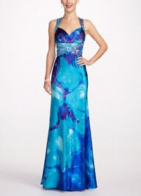 No one steals the spotlight like you in this long strapless charmeuse floral prom dress.  Soft and stunning, this floor length gown is the ultimate figure-flattering prom gown.  Open back adds the perfect amount of sultry.  Available in Turquoise/Purple.  Fully lined. Back zip. Imported polyester. Dry clean.