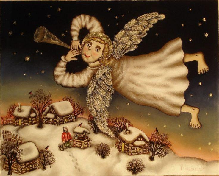 Gallery.ru / Трубящий Ангел - Живопись на стекле - julia-yakusheva
