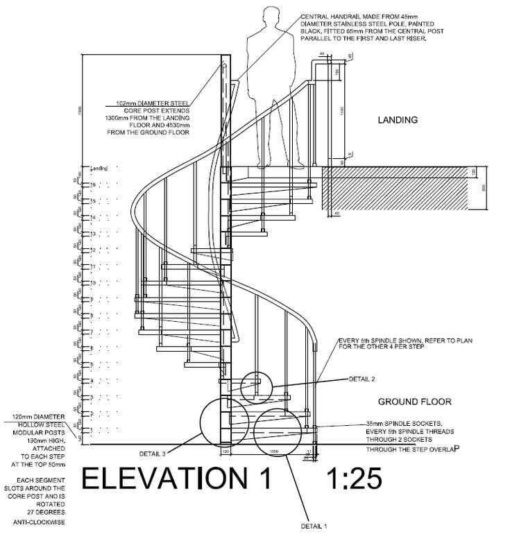 AutoCAD 2012 spiral staircase detail drawings, plan