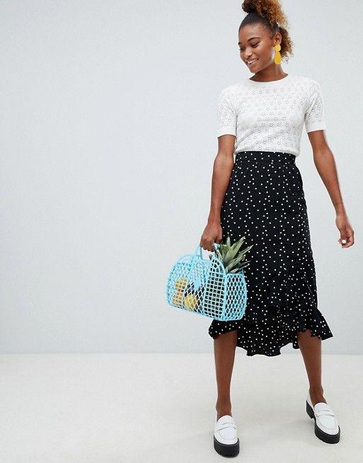 124c5425d5 Monki polka dot side buttoned midi skirt in black | ASOS Asos, Monki, Polka