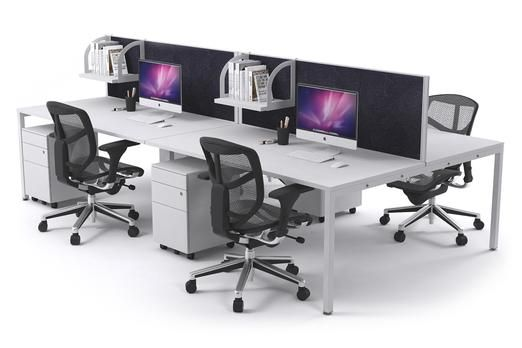 Litewall 2000 Leg 4 Person Office Workstation White Square. The commercial grade Litewall workstation is the quintessential group desk system. Choose between city cream, charcoal ash and blue ocean fabric desk screens.