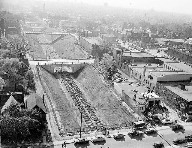 New TTC subway line being built in Toronto, 1953