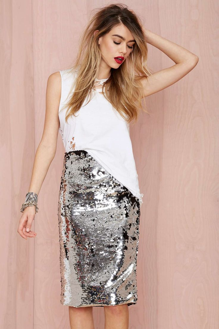 Silver sequins and red lips