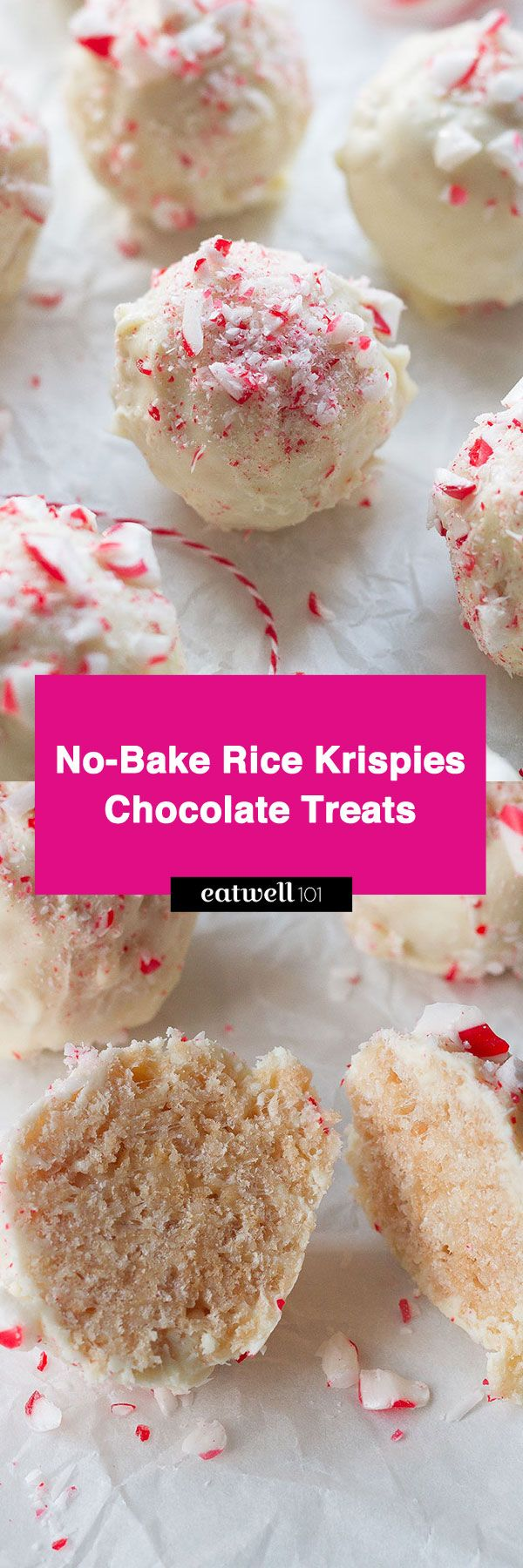 Rice Krispies Treats with White Chocolate & Peppermint — Soft and chewy with an irresistible white chocolate coating.
