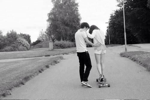 Skateboarding couple