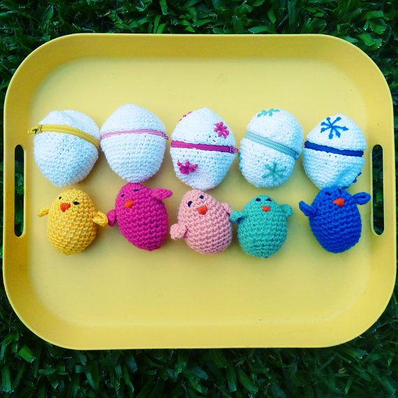 Easter eggs & baby chicks Crochet Amigurumi Toy Pattern PDF by Sol Maldonado
