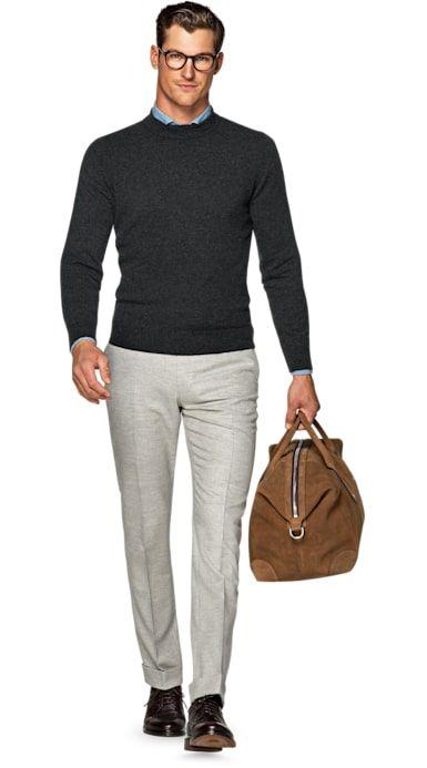 Grey wool merino sweater, grey chino