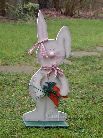 Wood Crafts for Spring and Easter - White Wooden Bunny