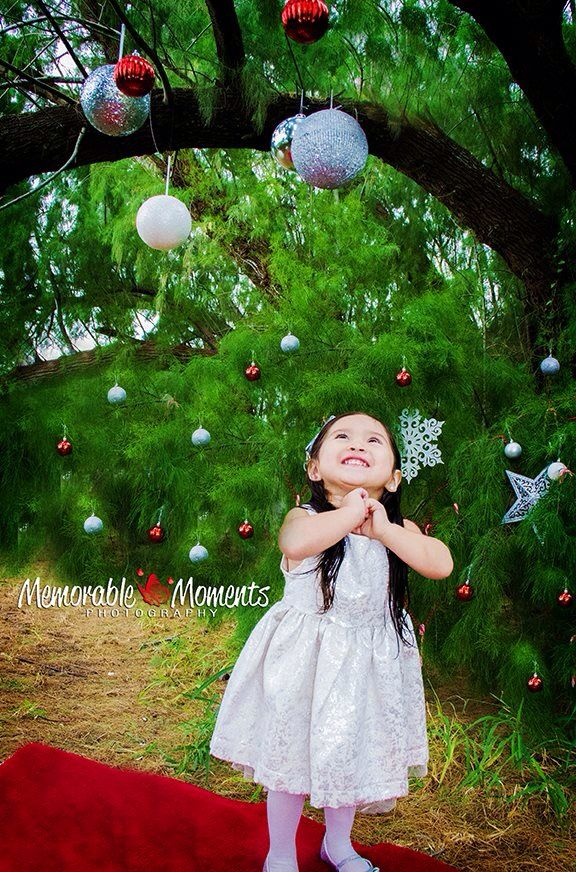 www.capturememorablemoments.com Memorable Moments Photography  CHRISTmas | Christmas session | niece | princess | outdoors | natural lighting | pine tree | ornaments | silver dress | two year old | long hair