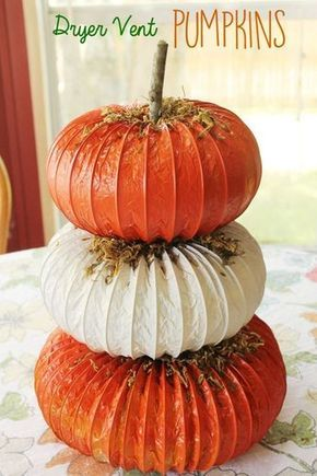 Pumpkin dryer-vent craft. A unique topiary craft for Fall, Autumn, Halloween or Thanksgiving | This Mama Loves
