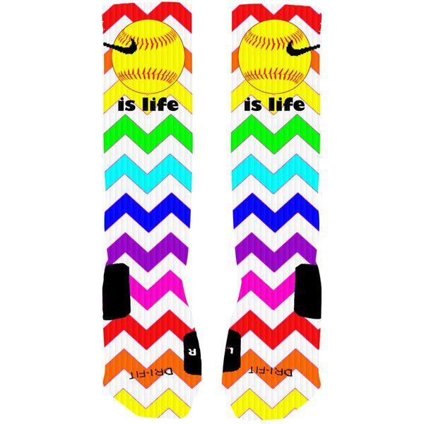 Custom Softball Socks Rainbow Chevron Stripe Custom Nike Elite Socks ($25) ❤ liked on Polyvore featuring intimates, hosiery, socks, nike, multicolor socks, rainbow socks, white hosiery и multi color socks