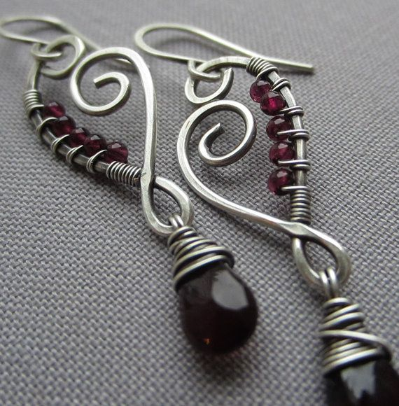 Wire Wrapped Earrings with Garnet Drops/ Artisan Earrings / Silver Wire earrings/ Statement Earrings