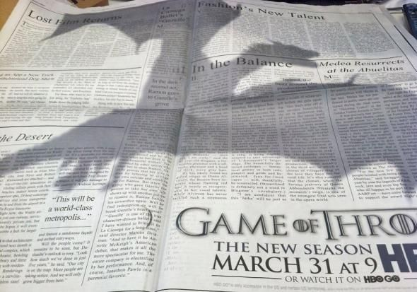 It would definitely make you look up! > Game of Thrones Soars With Dragon Shadow Ad in New York Times
