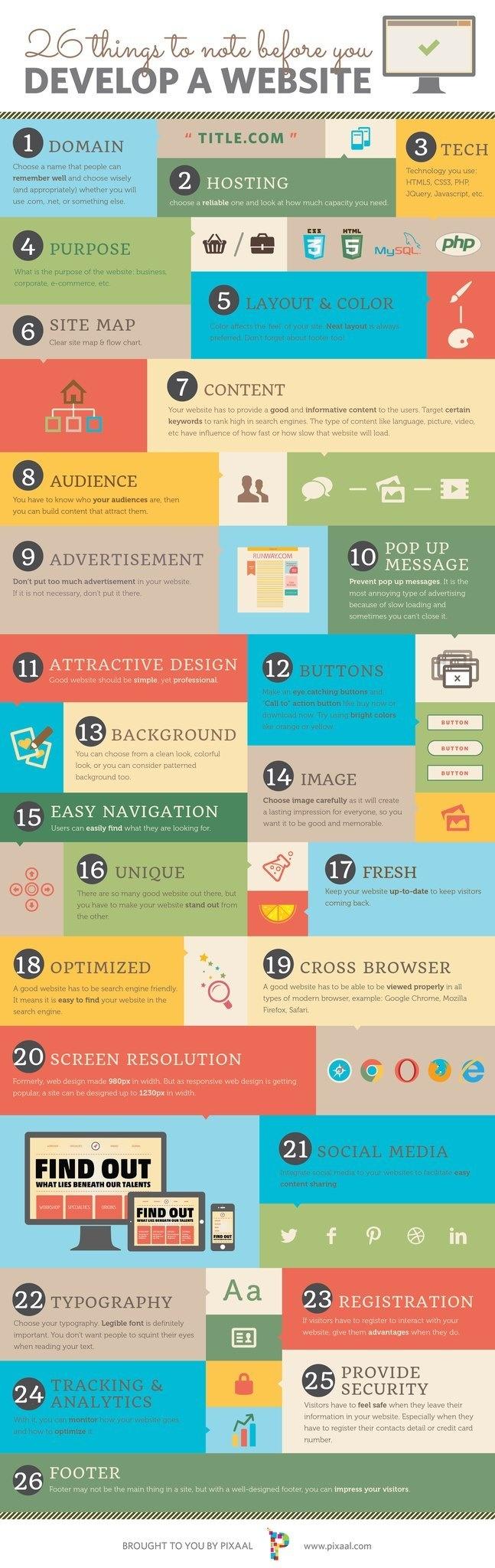 Si eres desarrollador web o diseñador, sin duda ésta infografía te va a ayudar en más de una ocasión. Aquí tienes 26 cosas a tener en cuenta antes de desarrollar un proyecto web. ¡No te olvides de ninguno de ellos!