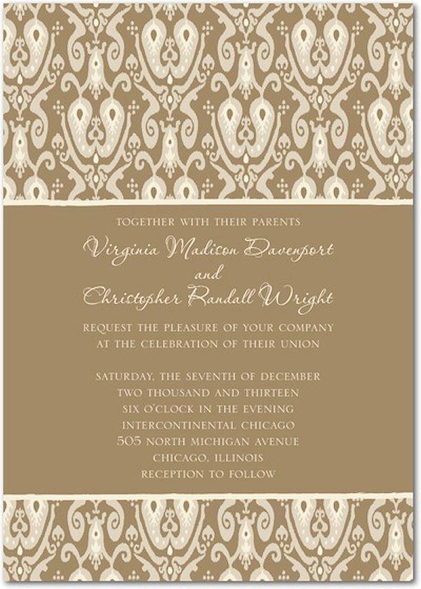 chic brown wedding invitation