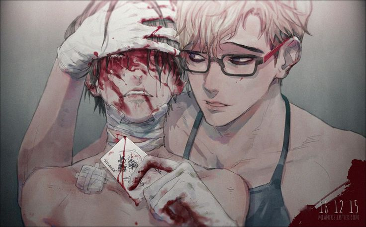 Bloody dark anime boys Guro