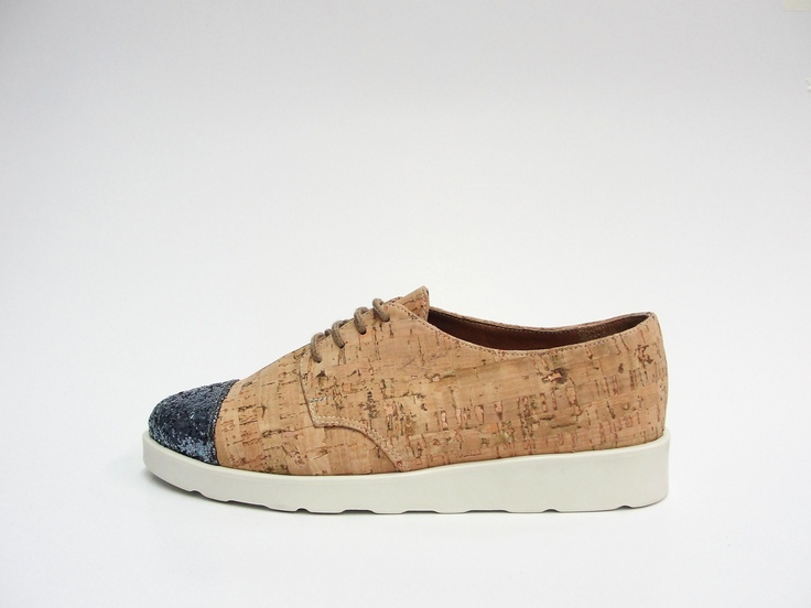 derby shoe.  cork & glitter upper.  rubber sole.