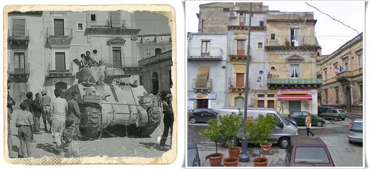 Carro Sherman britannico del XIII Corpo, ottava armata per le strade di Francofonte, in vIa Roma Sicilia, 13-14 Luglio 1943.