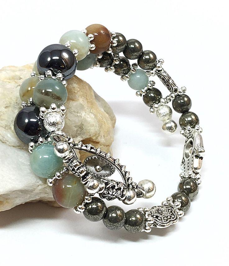 Genuine Gemstone Bracelet - Amazonite Bracelet - Hamsa Bracelet - Memory Wire Bracelet - Hippie Bracelet - Rustic Bohemian Bracelet